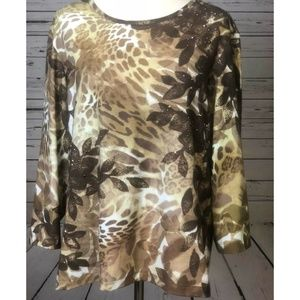 Chico's Tops - Zenergy Chicos 3 Large Studded Leaf Fall Shirt Top